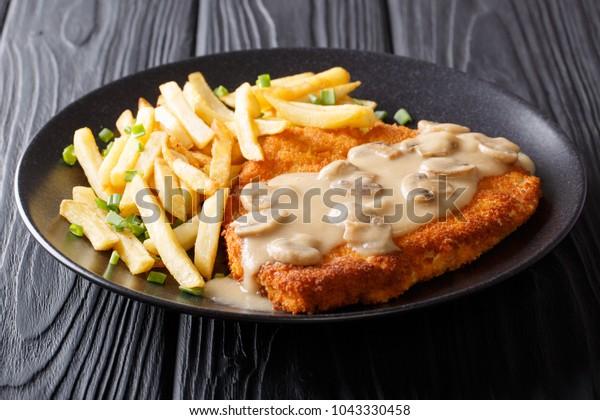 Crispy Fried Pork Chops Jaeger Schnitzel Stock Photo (Edit