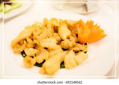 Crispy fried pork,  Japanese fried pork on table.Fry pork ribs,Crispy pork ribs.Healthy Food.