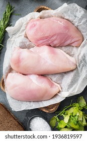 Crispy garlicky chicken raw ingredient on grey background, flat lay - Shutterstock ID 1936819597