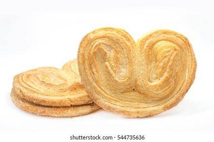 crispy heart or butterfly or elephant ear bakery on white background for valentine