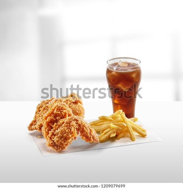 Crispy kentucky fried chicken french fries stock photo - Kentucky french chicken ...
