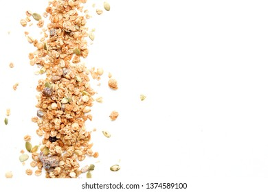 Crispy muesli dry Breakfast isolated on white background selective focus, top view.