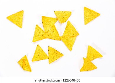 Crispy nachos isolated on a white background