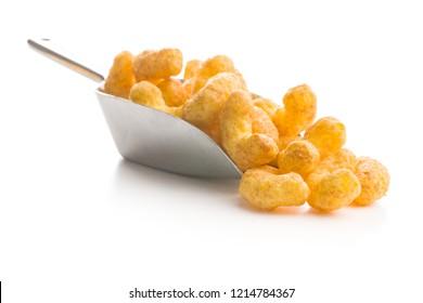 Crispy Peanut Puffs isolated on white background.