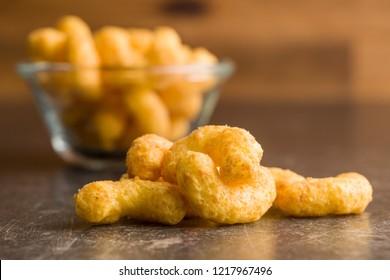 Crispy Peanut Puffs on kitchen table.