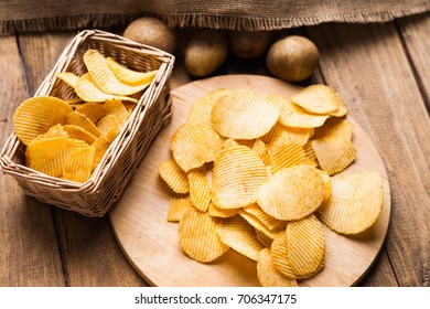 Crispy potato chips and potato