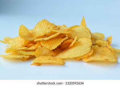 Crispy potato chips Put on a white background