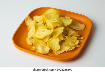 Crispy potato chips. Snacks Fast food or junk food snacks unhealthy concept.