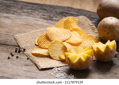Crispy potato chips, spices and potato