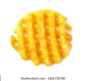 Crispy potato frie waffle, wavy, crinkle cut, criss cross cries isolated on white background.