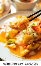 Crispy Prawns with Mandarin Sauce