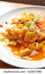 Crispy Prawns with Mandarin Sauce and orange