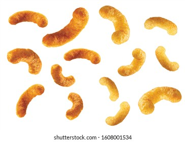 Crispy Puffs isolated on croma background. Masala or Salt flavour snacks.