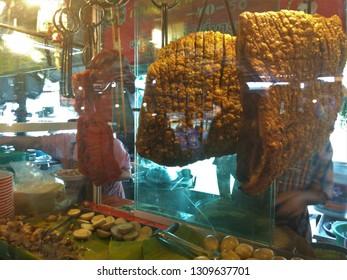 Crispy and red grilled pork at local market, Kao Moo Dang, Nakhon Pathom, Thailand