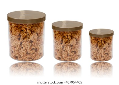 crispy rice cereal inside plastic box isolated on white background,Thai Sweet Crispy Rice Cracker