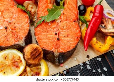 Crispy roasted salmon steak