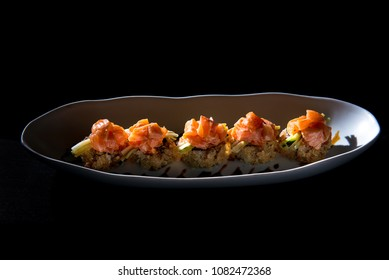 crispy roll topped with salmon