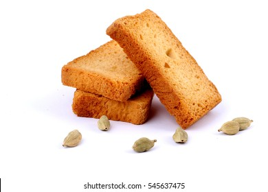 crispy rusk on white with cardamom