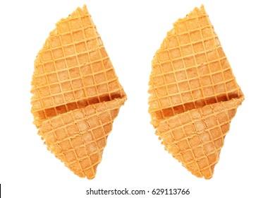 it is crispy waffle isolated on white.