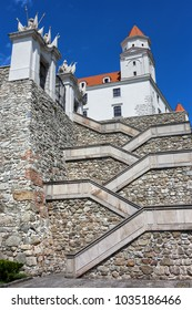 Crisscross stairs to the Bratislava Castle in Slovakia