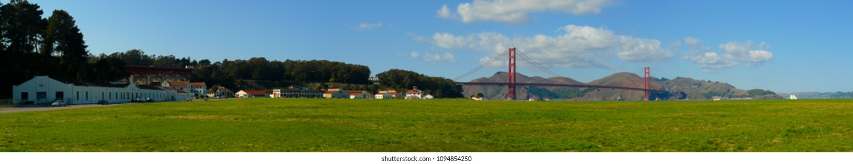 Crissy Field and Golden Gate bridge panorama, San Francisco, California