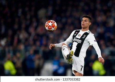 Cristiano Ronaldo of Juventus during the UEFA Champions League Round of 16 Second Leg match between Juventus and Club de Atletico Madrid at Allianz Stadium on March 12, 2019 in Turin.