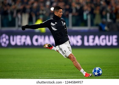 Cristiano Ronaldo of Juventus during the warm-up before the UEFA Champions League match between Juventus and Valencia CF at Allianz Juventus Stadium  in Turin, Italy on November 27, 2018