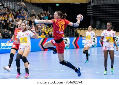 Cristina Zamfir Florianu from Romania shoot to score during first half of handball match between Romania and Spain from IHF World Championship - Germany 2017