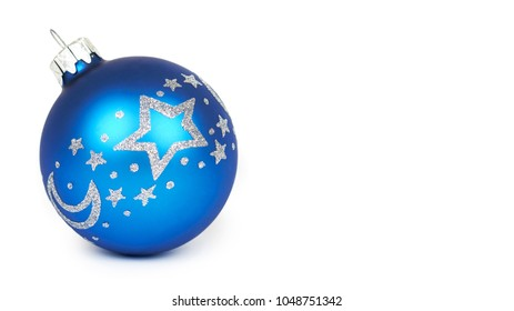 Cristmas decoration, glass blue ball isolated on white background. New Year object. copy space, template.