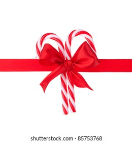 Cristmas gift ribbon and bow isolated on white