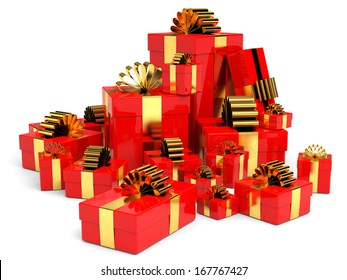 Cristmas gifts on white background. 3D illustration.