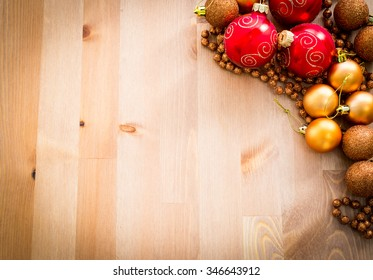 Cristmas ornaments on wooden background