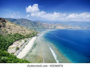 cristo rei landmark tropical beach landscape view near dili east timor
