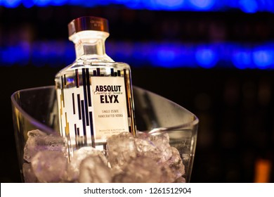 Cristur, Romania - December 14, 2018: New Absolut Vodka Elyx with ice and blur background