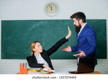 Criticism and objection concept. Teacher wants man to shut up. Please shut up. Tired of complaints. Indifferent about objection. Dismissed objection. School teacher and parent. Stop talking to me.