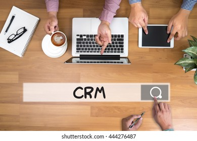 CRM  Business Customer CRM Management Analysis Service Concept  man touch bar search and Two Businessman working at office desk and using a digital touch screen tablet and use computer, top view