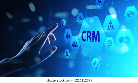 CRM - Customer relationship management automation system software. Business and technology concept.