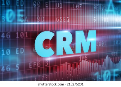 CRM - Customer Relationship Management concept blue text