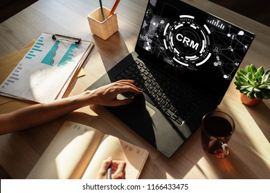 CRM - customer relationship management system concept on screen.
