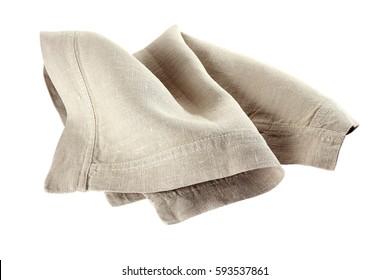 Crmpled linen napkin on white