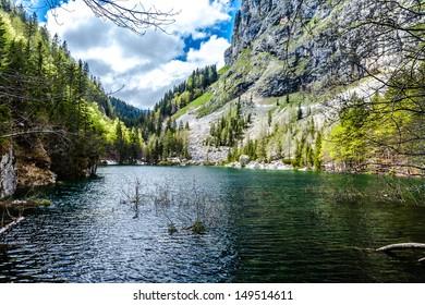 Crno jezero (Black lake), the lowest of all the Triglav Lakes. The Julian Alps, Slovenia.
