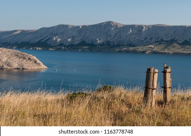 Croatia, 30/06/2018: panoramic view of the fjord and village of Metajna, a remote little village in the municipality of Novalja, along the Bay of Pag, on the Island of Pag in the northern Adriatic Sea