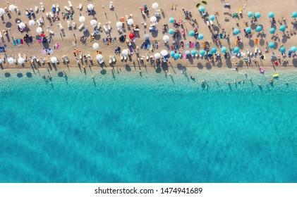 Croatia. Aerial view on the beach. Panoramic landscape. Beach and turquoise water. Top view from drone at beach and azure sea. Travel and relax - image