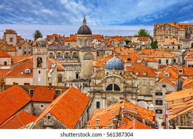 Croatia. Ancient town Dubrovnik sunset panoramic view