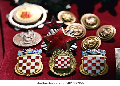 Grožnjan / Croatia - August 1 2019: military medals at the antique market