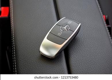 Croatia, Balkans March 2, 2018 : Mercedes-Benz A-Class 2018 Wireless Key March 2 2018 in Croatia.