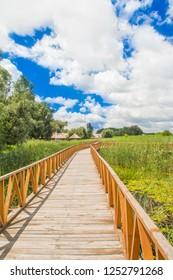Croatia, Baranja, Kopacki Rit nature park wooden boardwalk view, beautiful countryside landscape, cloudy day