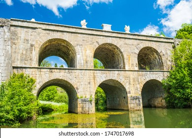 Croatia, beautiful 19 century stone bridge with arches in Tounj on Tounjcica river