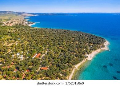 Croatia, beautiful touristic resorts and long beaches on on beautiful island of Pag on Adriatic Sea