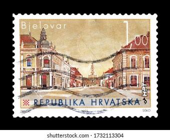 CROATIA - CIRCA 1995 : Cancelled postage stamp printed by Croatia, that shows ship Bjelovar, circa 1995.
